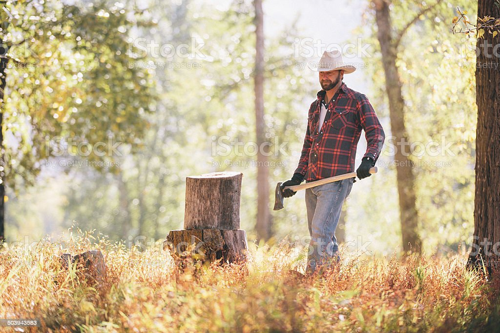 Cowboy carrying axe walking to chop wood in forest stock photo
