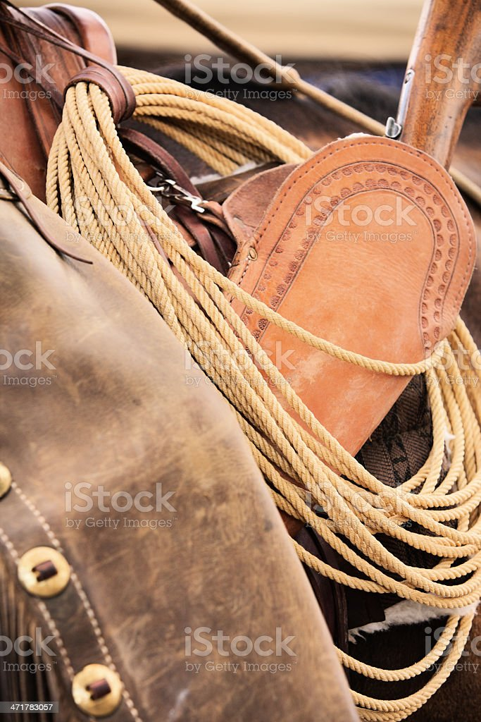 Cowboy Chaps Lariat Lasso Rifle Holster royalty-free stock photo