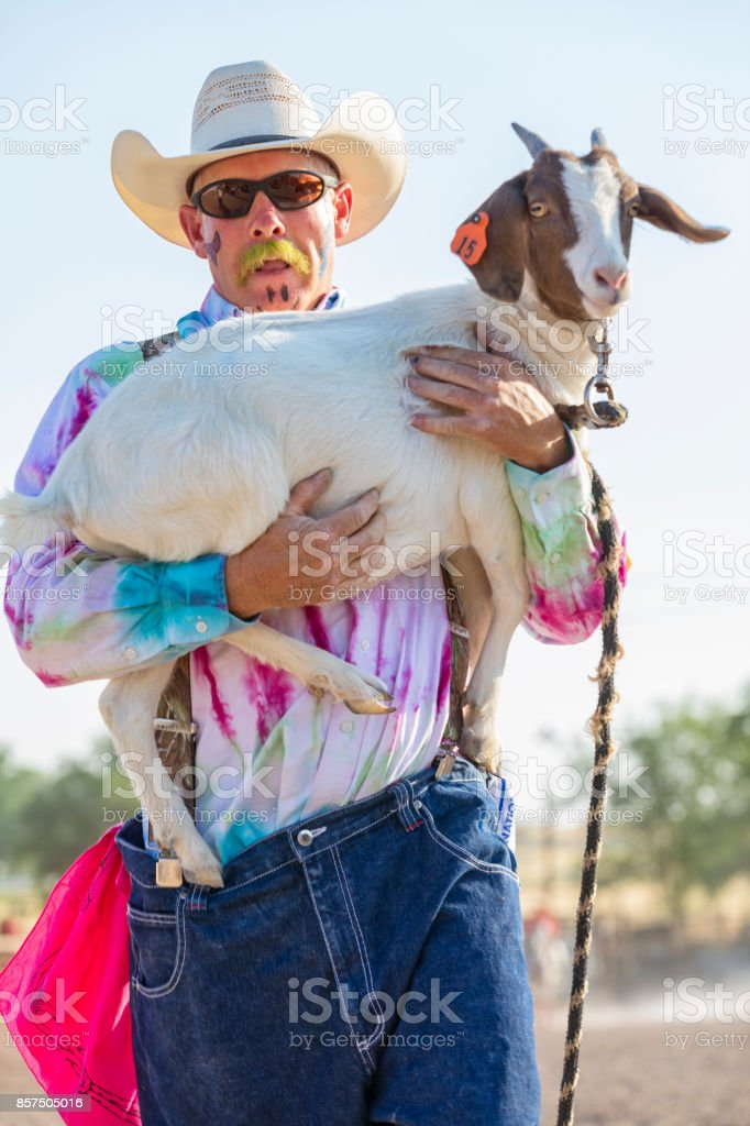 Cowboy clown carries a goat after a rodeo event stock photo