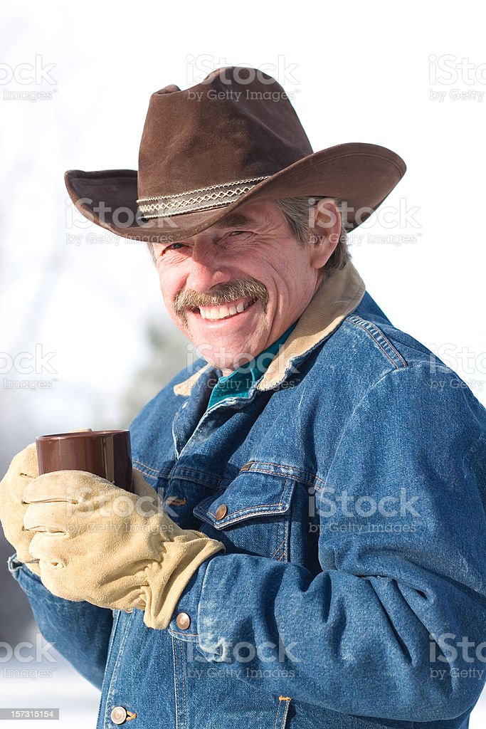 Cowboy Coffee with a Smile stock photo
