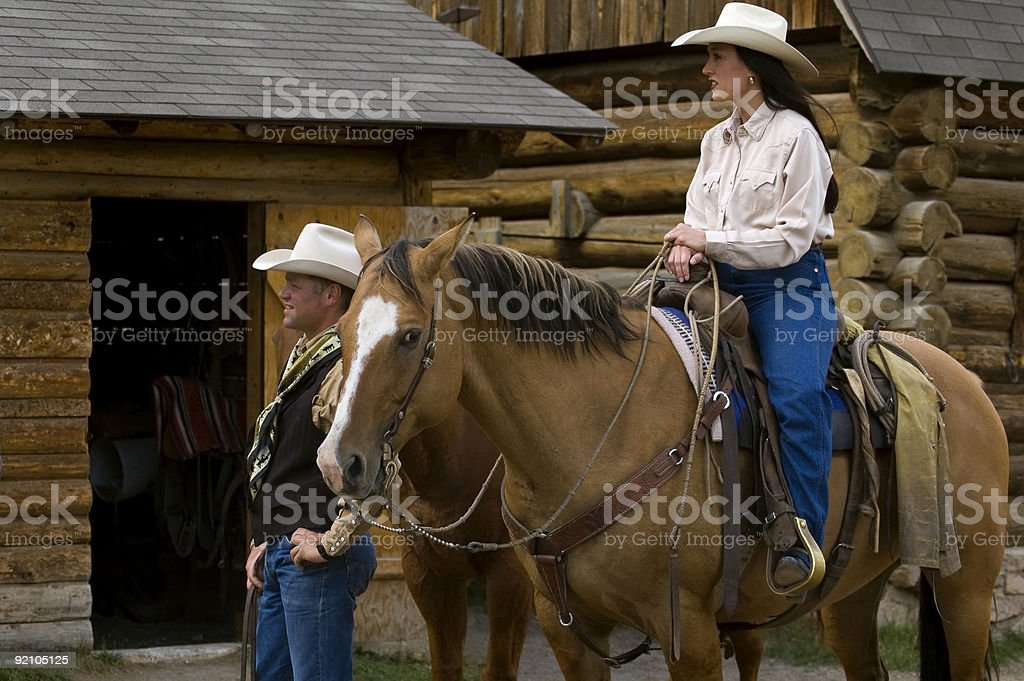 Cowboy Couple stock photo