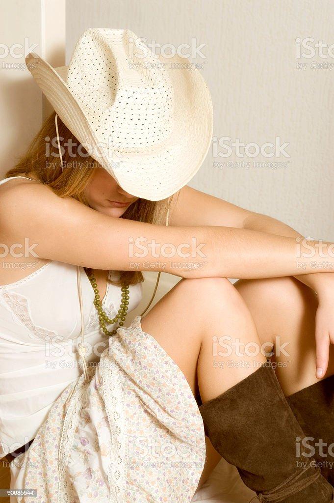 Cowboy Girl Sleeping stock photo