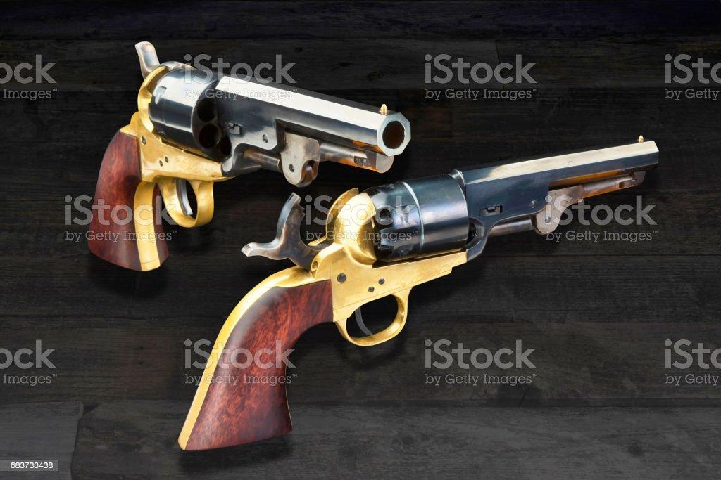 Cowboy Guns. stock photo