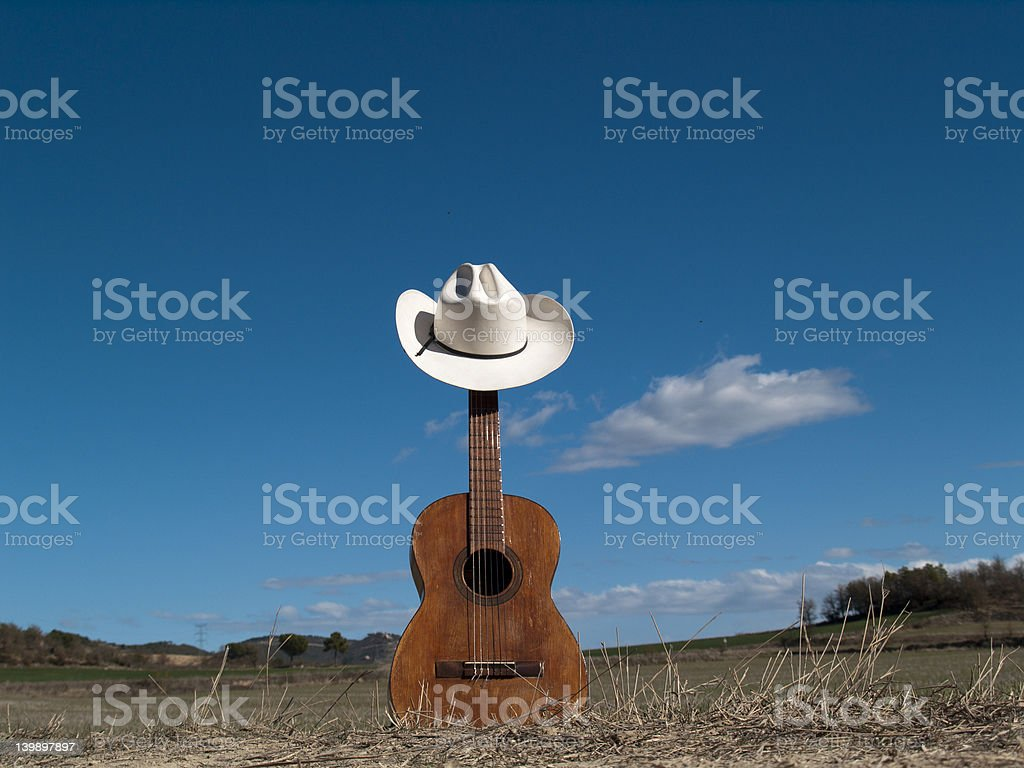 Cowboy hat and guitar stock photo