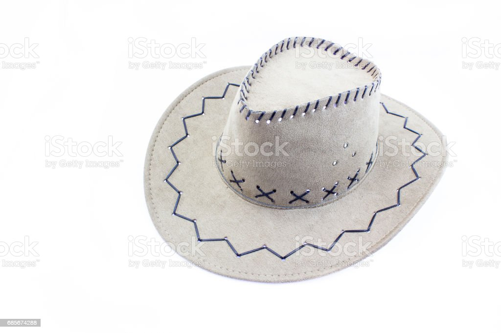 흰색 배경에 고립 된 카우보이 모자 근접 촬영 royalty-free 스톡 사진
