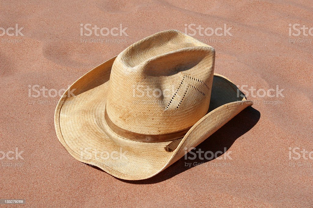 Cowboy Hat in the Sand royalty-free stock photo