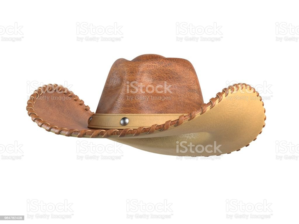 Cowboy hat isolated on white background 3d rendering royalty-free stock photo