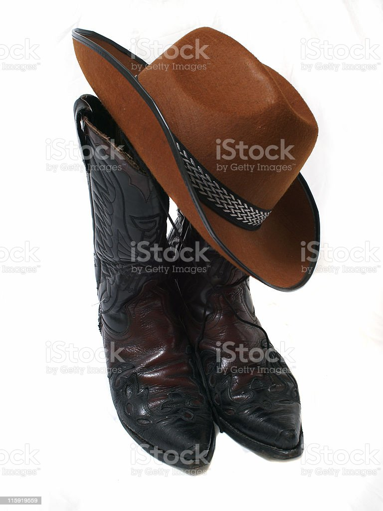 Cowboy Hat on Boots royalty-free stock photo