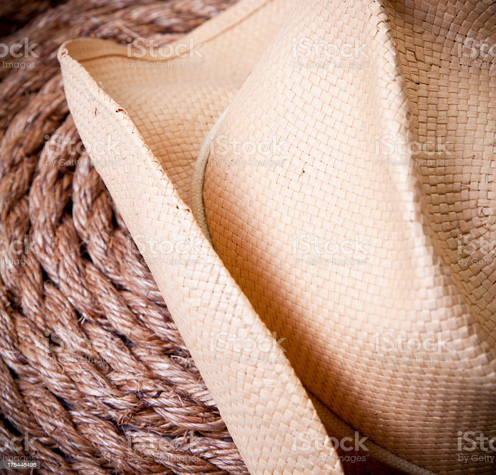 Cowboy hat on rope royalty-free stock photo