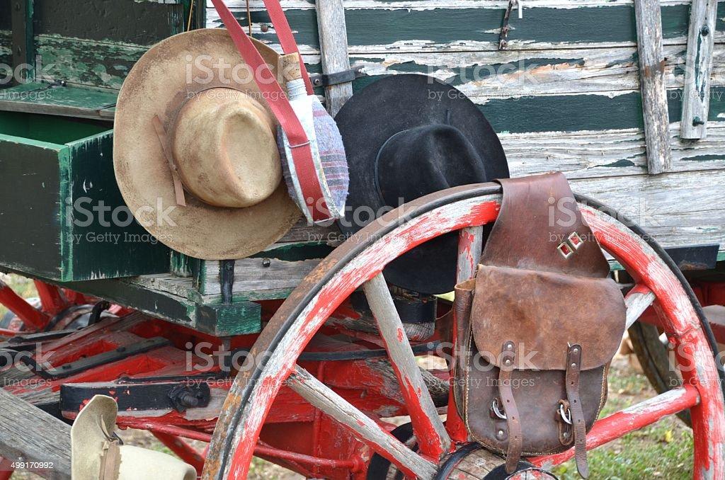 Sombrero de vaquero bolsa y brida - foto de stock