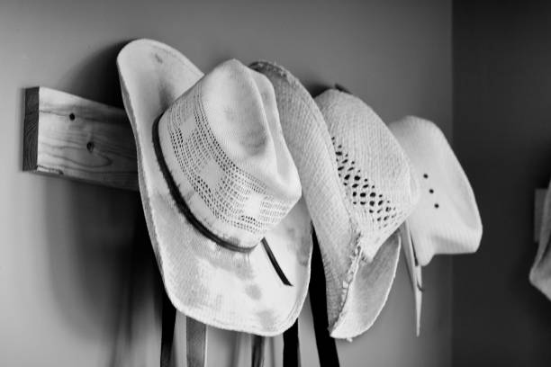 cowboy hats hanging on wall stock photo