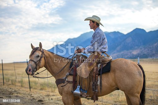 A cowboy on his horse in the western USA