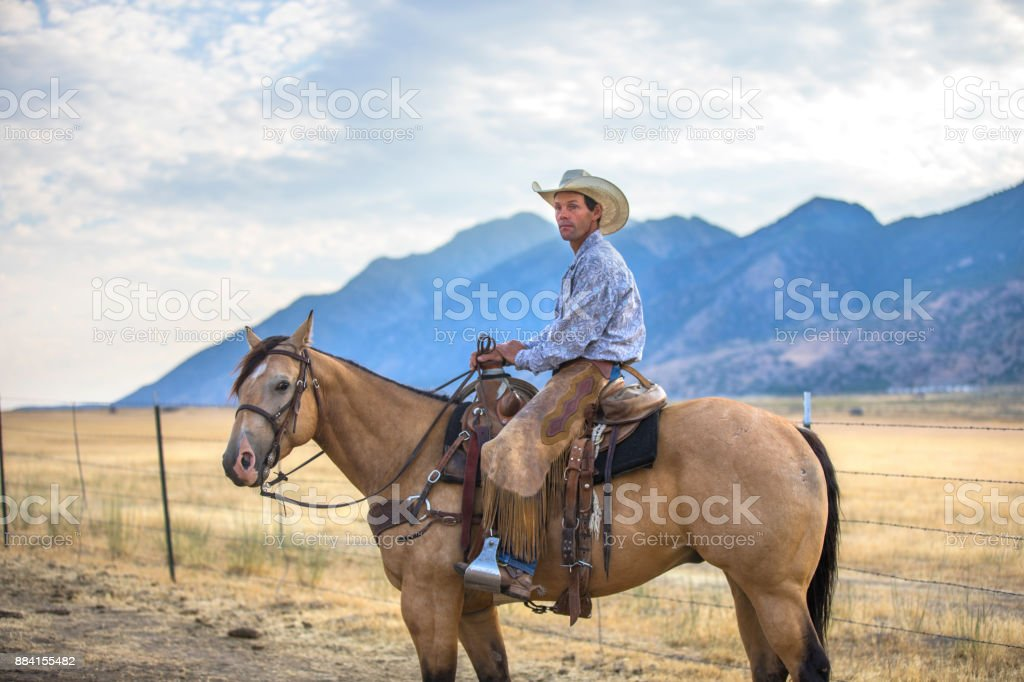 Cowboy in einem Pferd – Foto