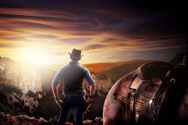 cowboy in old wild west stock photo