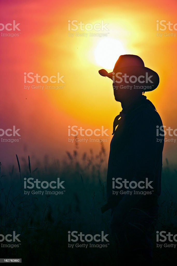 cowboy in sunset royalty-free stock photo