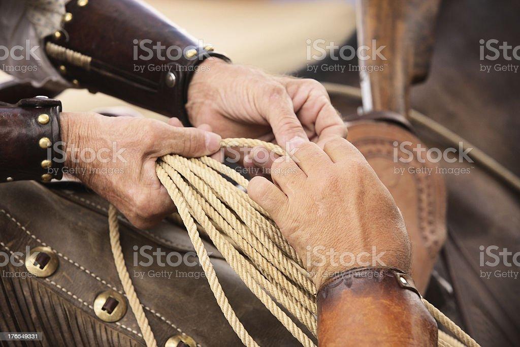 Cowboy Lasso Rope Riding Tack royalty-free stock photo