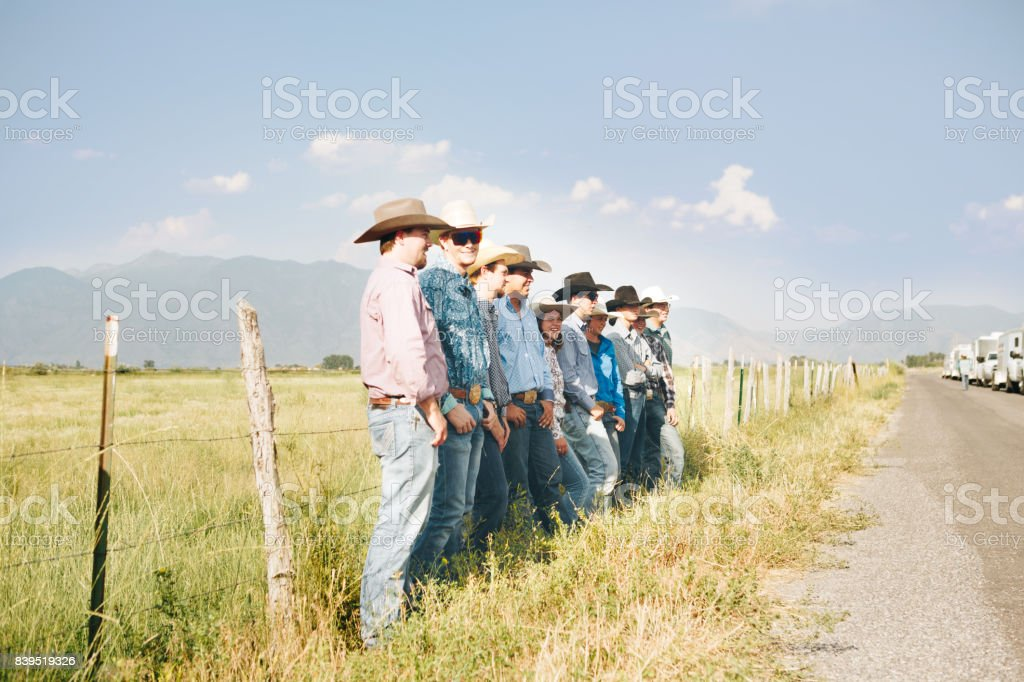 Cowboy Line Up stock photo