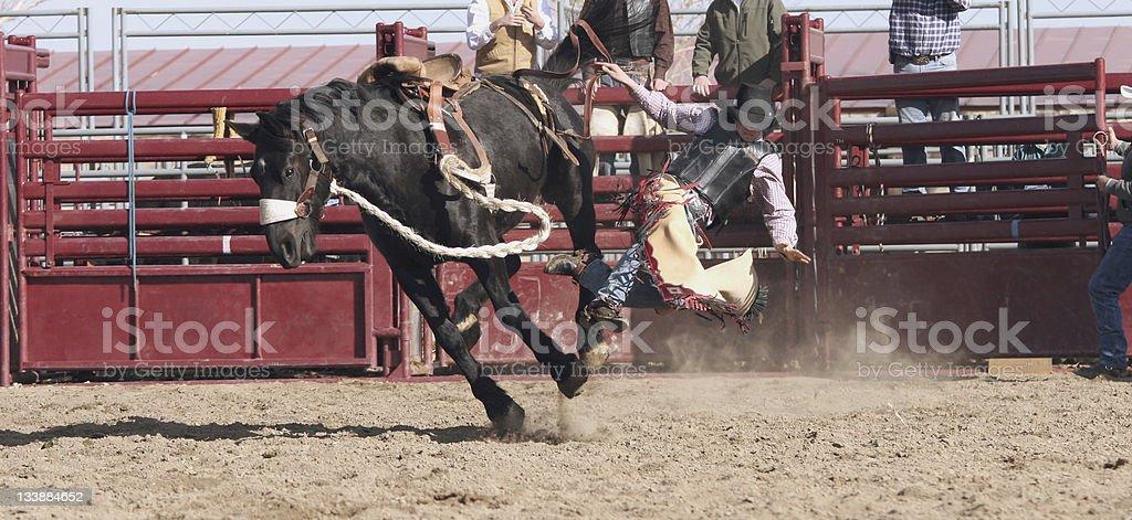 Cowboy on a Bucking Horse stock photo