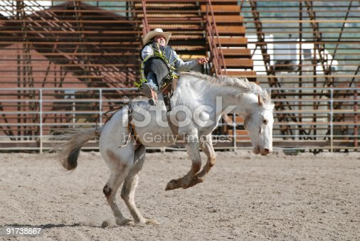 Young cowboy riding bareback on bucking horse in Utah High School Rodeo.