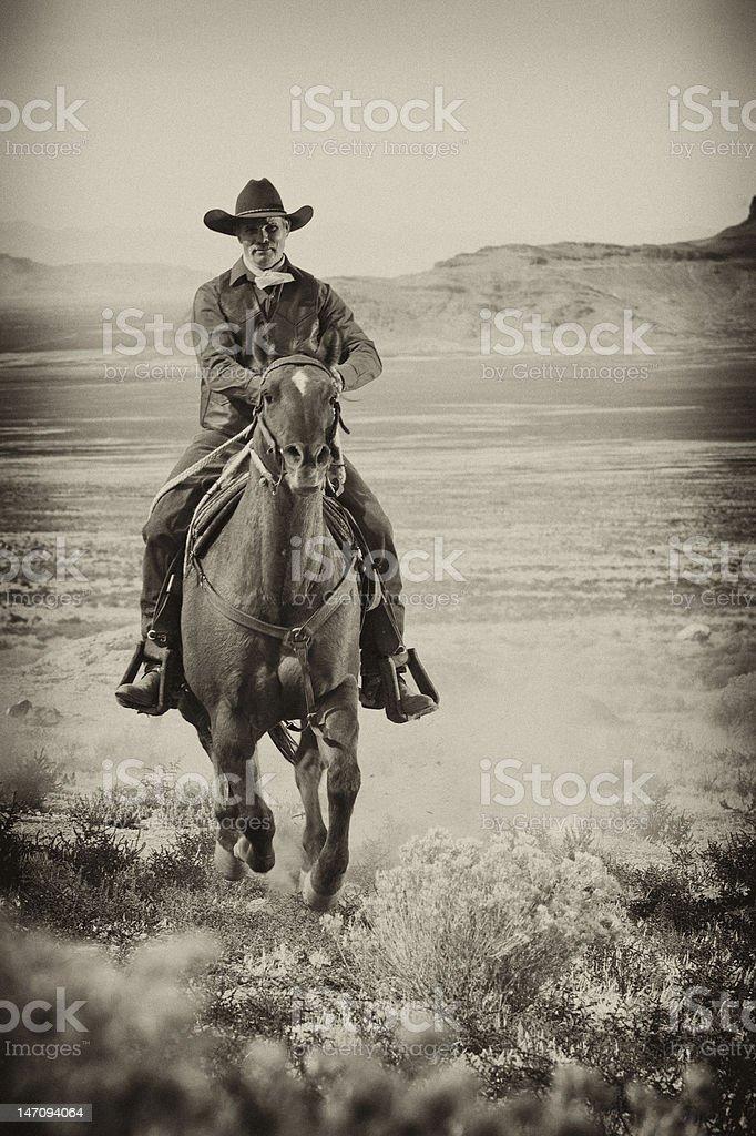 Cowboy on Horseback stock photo