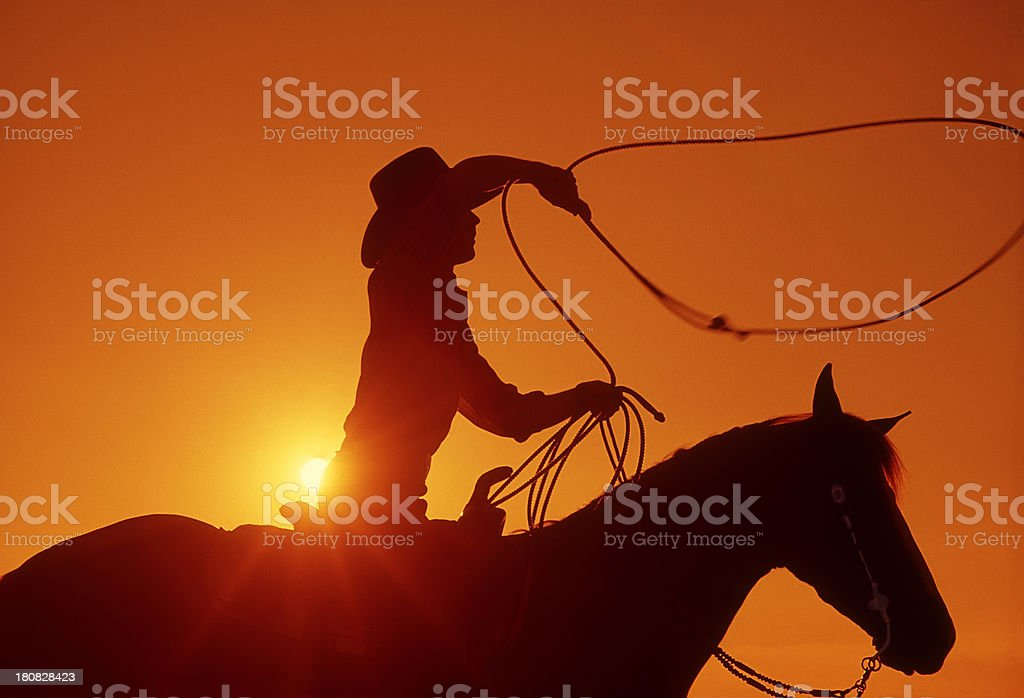 Cowboy on horseback with lasso at sunset stock photo