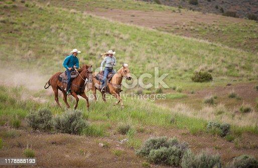 Cowboy Ranchers on horses in Utah, USA