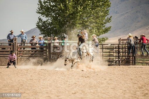 A cowboy in a safety helmet riding a bull in a rodeo arena.