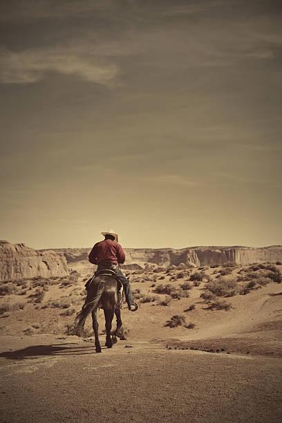 cowboy auf pferd im amerikanischen südwesten wüste plateau landschaft, vertikal - navajo stil stock-fotos und bilder