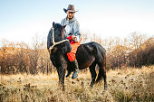 Young Caucasian man riding horse on meadow.