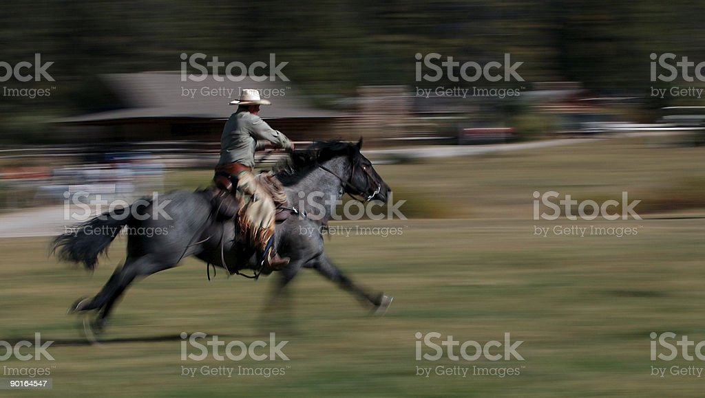 Cowboy Riding Horse #4 stock photo
