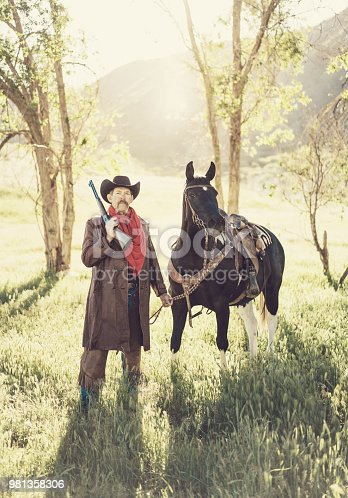 Cowboy sheriff with paint horse
