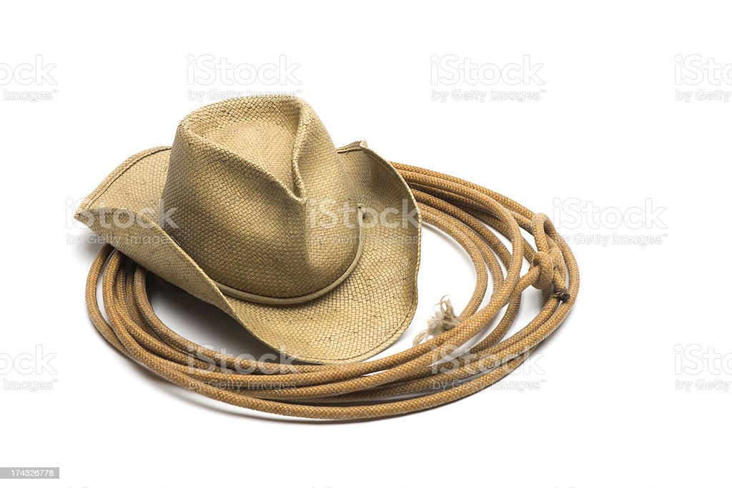 Cowboy straw hat and lasso-isolated on white stock photo