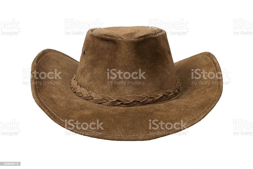 Cowboy suede leather hat stock photo
