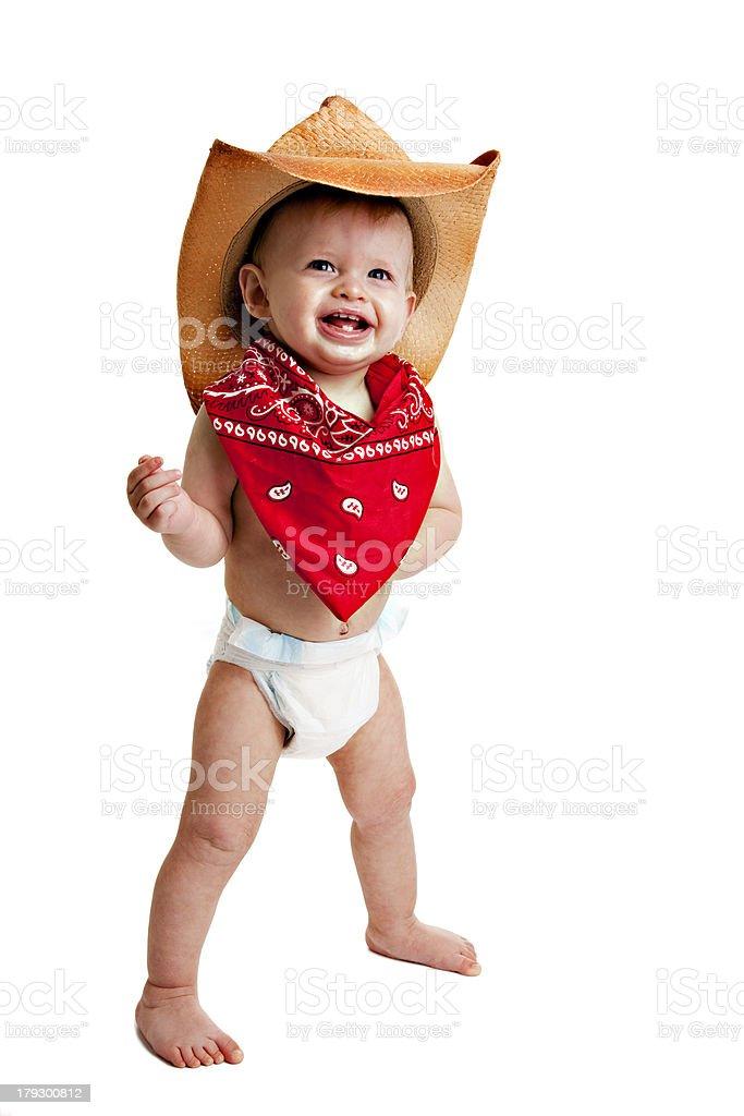 Cowboy niño pequeño niño en pañales - foto de stock