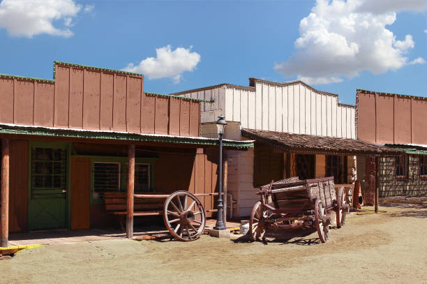 cowboy town - western town stock photos and pictures