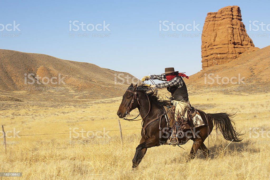 Cowboy Wearing Bandana Over Face Gallops On Horse Royalty Free Stock Photo