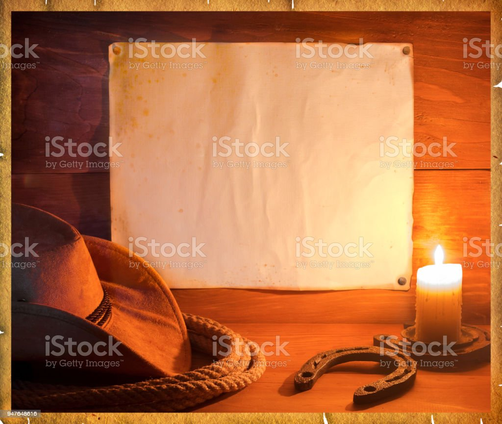 Cowboy western background for text stock photo