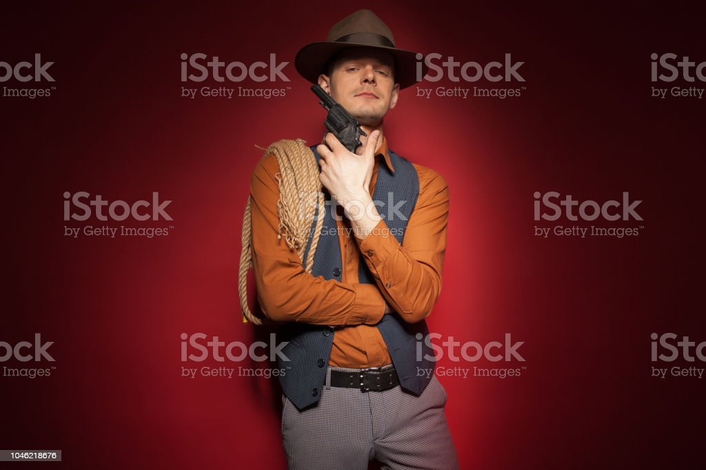 Cowboy With A Pistol A Gold Miner Adventure Guy In A Hat With A