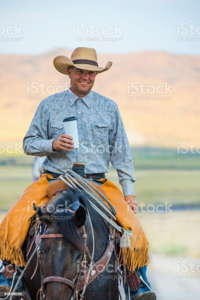 Cowboy With Coffee stock photo