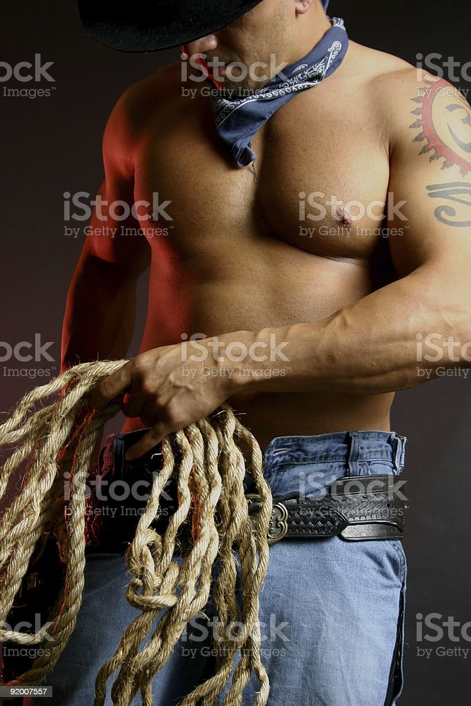 cowboy with lasso stock photo