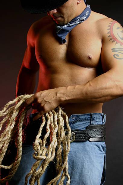 cowboy with lasso stock photo