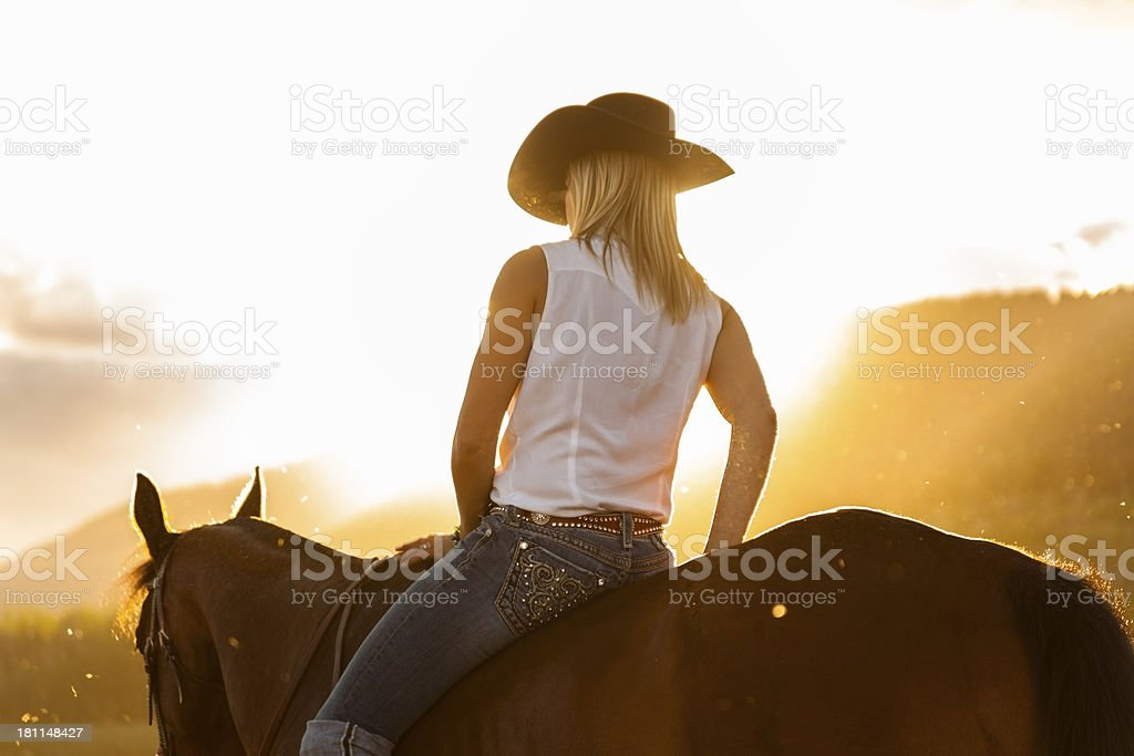 Cowboy: Woman riding horse into the sunset. Cowgirl.  Silhouette, sunflare. stock photo