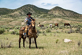 Cowboy wrangler ranch hand on horse with rope watching over horse herd in Colorado