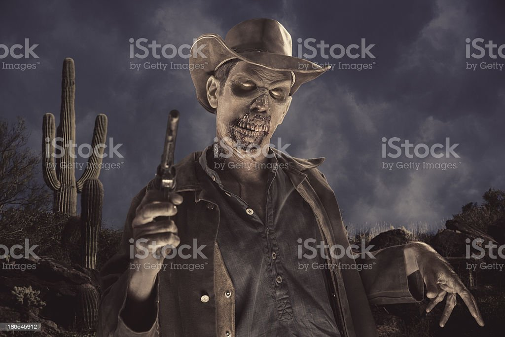 Cowboy Zombie in the desert stock photo