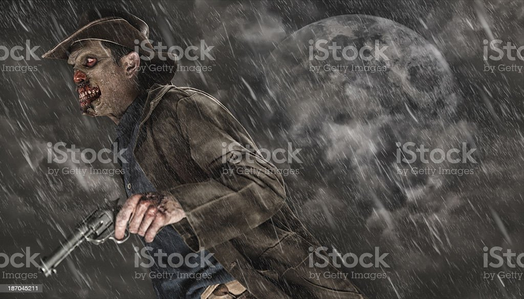 Cowboy Zombie on a stormy night stock photo