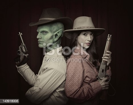 Cowboy, Alien and sharpshooter poses with his western girl. BettaLypse '11