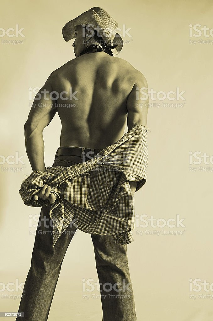 cowboy's back stock photo