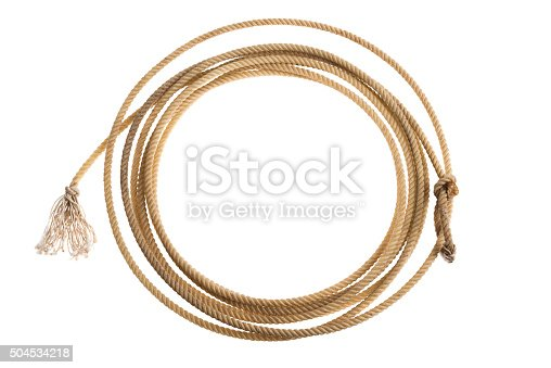 istock Cowboy's calf roping lasso on white background 504534218