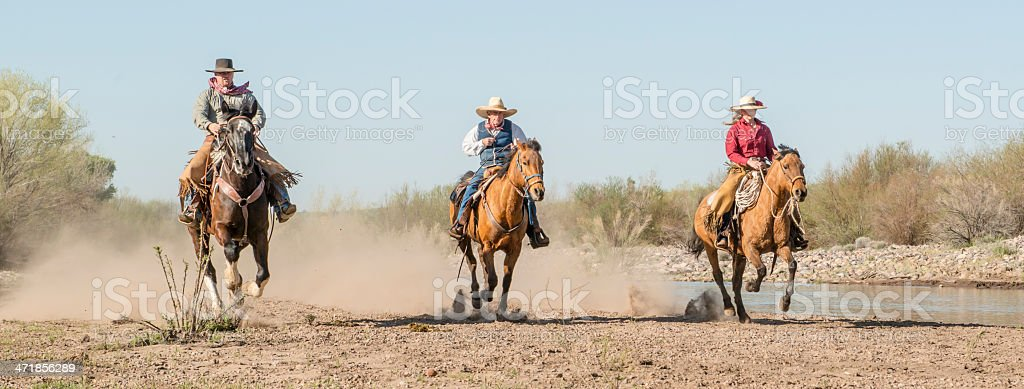 Cowboys on running horses stock photo