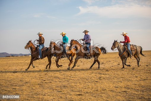 Cowboys riding on the open range.